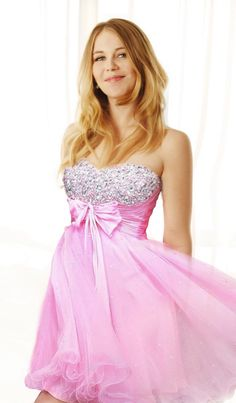 diamond studded pink dress with bow