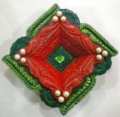 Green and Red Square Diya