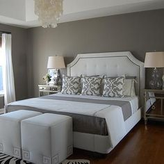 Gray Bedroom, Contemporary, bedroom, Benjamin Moore Galveston Gray