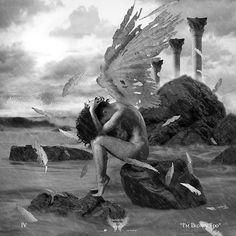 Dark Photography, Artistic Photography, Angel Wings Drawing, Wings Of Desire, Broken Wings, I'm Broken, Watercolor Flowers Tutorial, Angel Artwork, Gothic Angel
