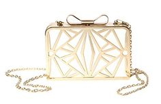 KISS GOLD(TM) Exquisite Leather Metal Hollow Designer Clutch Bag Evening  Handbags (White 0bd58220c154b