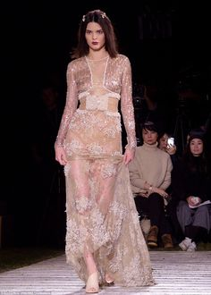 Sheer daring: Kendall Jenner rocked a see-through gown while strutting the catwalk for a La Perla runway show on Thursday