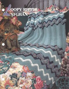 👨 Maluca Ripple Afegão Crochê Coberta Acolchoada malha itens decorativos Criações -  /  👨 Loopy Ripple Afghan Crochet Quilt Knit Knacks Creations -