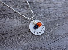 Denver Broncos Hand Stamped Metal Team Necklace by prettylicious, $15.99
