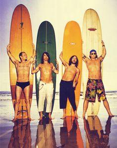Flea, Anthony Kiedis, John Frusciante and Chad Smith -- speedo, surfin', Jchillin', longboard.. <3