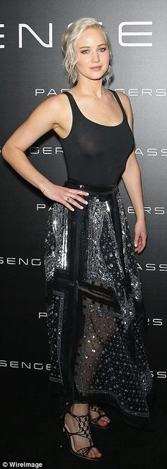 In the spotlight: Jennifer's dress featured a flimsy tank top with embellished boho style ...