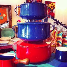 "Dansk, Kobenstyle cookware, 3 quart, 4 quart and 6 quart Dutch oven.  Enameled steel.  At ""What A Dish!"""