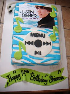 Justin Beiber ipod cake - This is the cake that my little one wants me to make for her 9th b-day????  We will see!