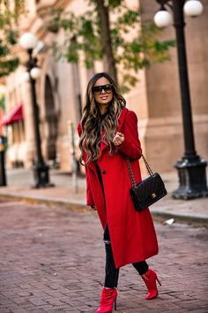 "OCTOBER 5TH, 2017 BY MARIA How To Wear Fall's ""It"" Color - OUTFIT DETAILS: Kendall + Kylie Red Coat Black Bodysuit Madewell Gray Jeans Steve Madden Red Booties Chanel Bag Celine Sunglasses"