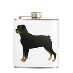 Rottweiler Basic Dog Breed Illustration Silhouette Flask
