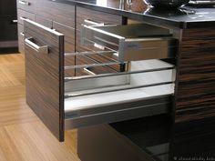 tandem storage drawers in kitchen