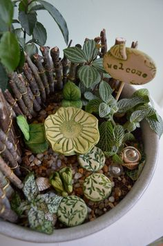 Fairy Garden ideas love the mini bird bath...looks hand made.