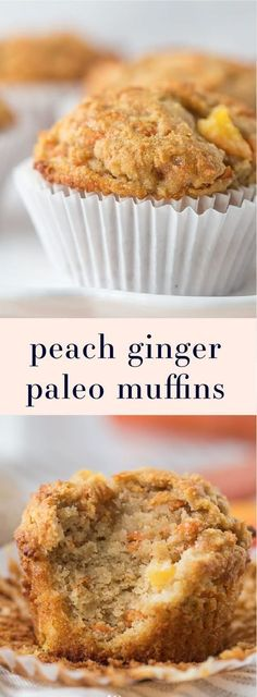 These peach ginger paleo muffins are moist and tender full of fruity fresh peaches and earthy ginger. The best thing about these paleo muffins? They don't taste like they're paleo! Grain-free gluten-free and refined sugar-free these make an awesome p Paleo Dessert, Paleo Sweets, Dessert Recipes, Dinner Recipes, Paleo Dinner, Paleo Breakfast Cookies, Sugar Free Breakfast, Entree Recipes, Köstliche Desserts