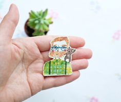 Beardy man wearing green check shirt and a Bear Brooch by andsmile on Etsy