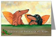 angel dachshunds christmas cards
