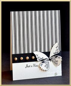 handmade card ... black and white ... butterfly ...