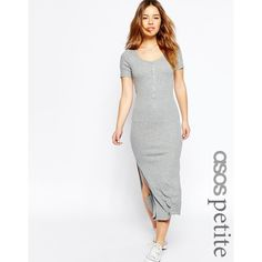 ASOS PETITE Maxi Dress In Rib With Button Front ($43) ❤ liked on Polyvore featuring dresses, grey, rayon maxi dress, gray dress, grey bodycon dress, bodycon dress and jersey dress