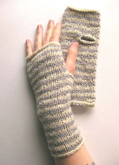Dove Grey and White Striped Wrist Warmers by extase on Etsy, $24.00
