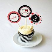 Bows & Kitty Cupcake Toppers by WH Hostess