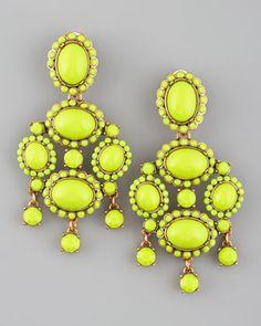 Chartreuse Resin Earrings by Oscar de la Renta at Bergdorf Goodman. Jewelry Box, Jewelery, Jewelry Accessories, Fashion Accessories, Bergdorf Goodman, Statement Earrings, Drop Earrings, Chandelier Earrings, Bijou Box
