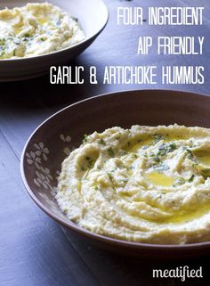 4 ingredient Garlic & Artichoke Hummus I think I have drool coming off the sides of my mouth.: Artichokes garlic lemon juice avocado oil think I'd like to add chickpeas maybe sprouted! Dips, My Burger, Paleo Appetizers, Aip Diet, Whole Food Recipes, Scd Recipes, Healthy Recipes, Healthy Options, Potato Recipes