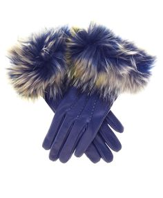 Women's Italian Fox Fur Cuff Cashmere Lined Leather Gloves