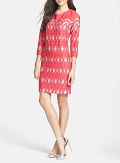 Hot coral shift dress for spring.
