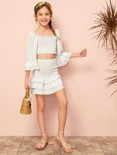 Cute Little Girls Outfits, Cute Girl Dresses, Kids Outfits Girls, Young Girl Fashion, Tween Fashion, Fashion Outfits, Little Girl Bikini, Crop Top And Leggings, Striped One Piece