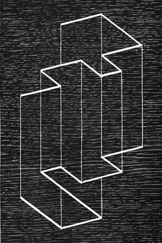 Josef Albers - Multiplex B, 1948 #woodcut / http://im-possible.info/english/art/classic/josef-albers.html