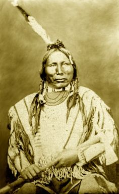 """Another photograph of White Swan, """"Thohaska"""", Yankton Sioux Chief. - Albumen print; Carte-de-visite. Only photo information is that it was taken in the 19th century!"""