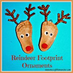 Messy Little Monster: Reindeer Footprint Ornament (using salt dough)