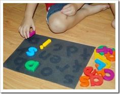 Leave magnet letters on black paper in the sun. The sun bleaches the paper and you have an instant letter matching center. Spelling, sight words, numbers...so many possibilities.