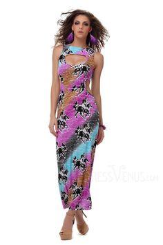 Clothing, Hollow Sleeveless Print Deep V-neck Maxi Dress, $18.69