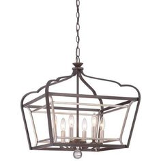 Minka Lavery Astrapia 6-Light Dark Rubbed Sienna with Aged Silver Pendant-4348-593 - The Home Depot