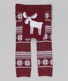 Can't wait until these are shipped!  SO CUTE!!  This Maroon Fair Isle Moose Leggings - by Doodle Pants is perfect! #zulilyfinds
