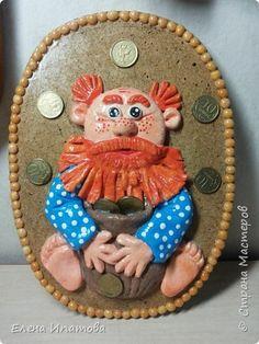 Картина панно рисунок Лепка Роспись Домовенок Краска Тесто соленое фото 1