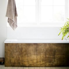Brass Aged Tiles for a splashback or any feature wall Copper Bathroom, Brass Kitchen, Bathroom Wall, Plywood Kitchen, Bathroom Ideas, Bathroom Paneling, Round Kitchen, Family Bathroom, Downstairs Bathroom