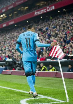 Neymar of FC Barcelola reacts during the Copa del Rey Quarter Final First Leg match between Athletic Club and FC Barcelola at San Mames Stadium on January 20, 2016 in Bilbao