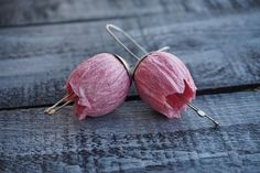 1st Anniversary Gift for Her Paper Lilac Earrings Bell by irineART