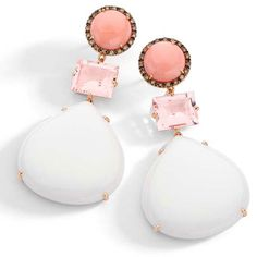 Casual Collection - Earrings in 18k rose gold with round brown diamonds, morganite, pink opal and cachalong.