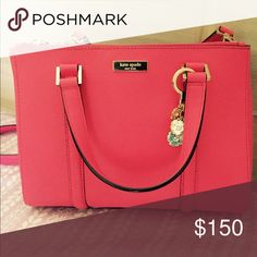 """Kate Spade Small Strawberry Loden EUC used for a week. Measures 8.5""""w x 11""""h x 5""""d. Can be used as a satchel or crossbody. No signs of wear, stains or smells. Keychain not included. kate spade Bags Satchels"""