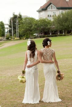 bride and maid of honor...not sure why their dresses are both white...buy love the picture idea!!!