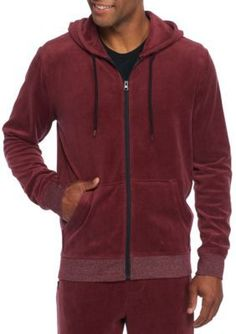 6e3aa321 Brooklyn Cloth Mfg. Co Men's Long Sleeve Full Zip Velour Hoodie - - No Size