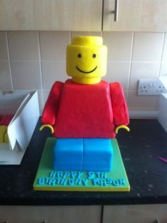 Lego Man Cake: with the birthday number (8) on his shirt.