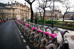 Velib (Bicycles) ,Paris...Take a bike, return it where you like, Vélib' is a self-service bike system available 24 hours a day, all year round. By the day, week, year......freedom...