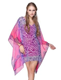 Ever Pretty Leopard Printed Sexy V-neck Sequins Mini Casual Dress 03636, HE03636HP08, Hot Pink, 6US