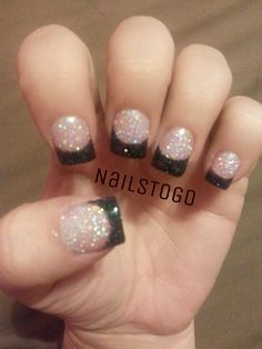 Reverse Pink And White Glitter Acrylic On Nailbed With Black Hologram Tip