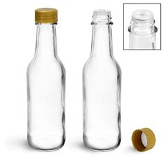 Glass Bottles, 5 oz Clear Glass Woozy Bottles w/ Gold Ribbed Lined Caps & Orifice Reducers
