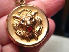 """True Victorian Gold Filled Lion Locket on 16"""" Chain, 1800's, signed F & B"""