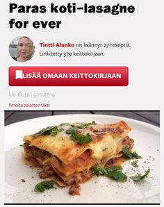 Paras koti-lasagne for ever Lassi, Beef, Ethnic Recipes, Lasagna, Red Peppers, Meat, Ox, Ground Beef, Steak